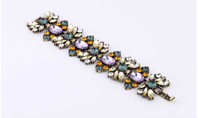 Statement chunky multi color crystal flower lady Bracelet DSL00122