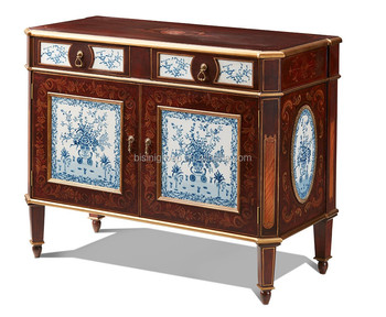 Graceful Antique European Design Buffet Sideboard With Blue And