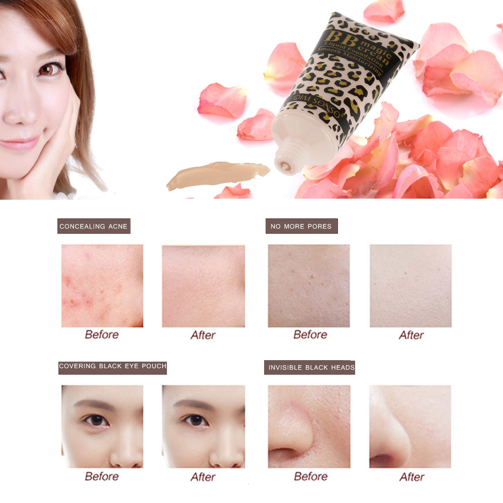 Whitening Balance Skin Color Bare Makeup BB Cream Smooth Moisturizing Liquid Foundation Face Concealing BB Cream