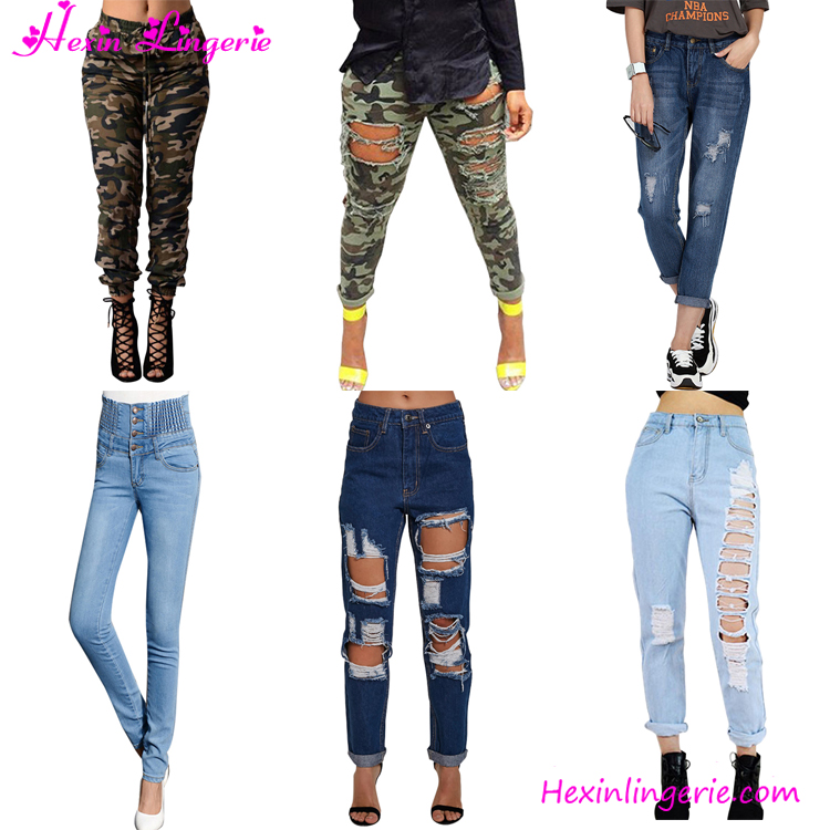 Latest Design Hollow Out Jeans Hip Hop Pants For Girls