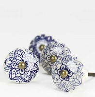 Shabby Chic Moroccan Ceramic Knobs for Cabinets, Dressers