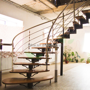Single Spine Steel Structure Curved Stairs With Wood Tread And Black Metal  Railing
