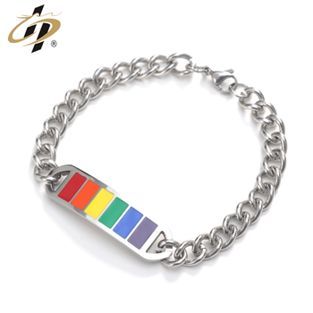 Promotional metal stainless steel silver rainbow enamel custom bracelet with chain