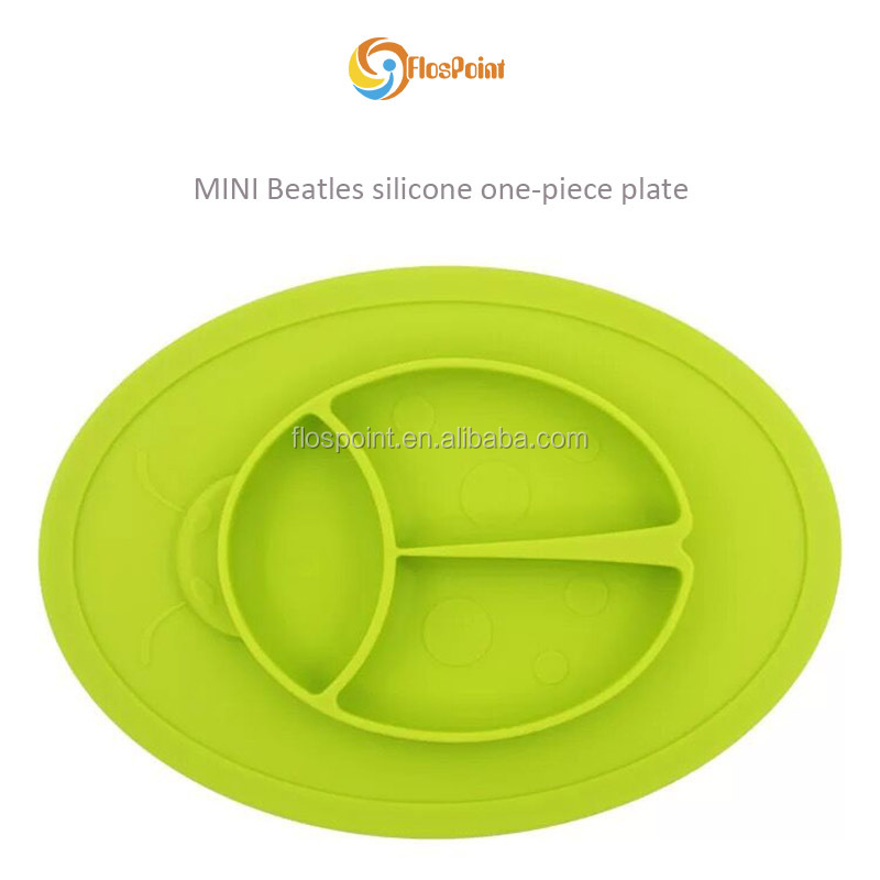 new products 2017 bulk items green BPA Free Mini Beatles One Piece Suction Silicone Dinnerware Baby Feeding Mat