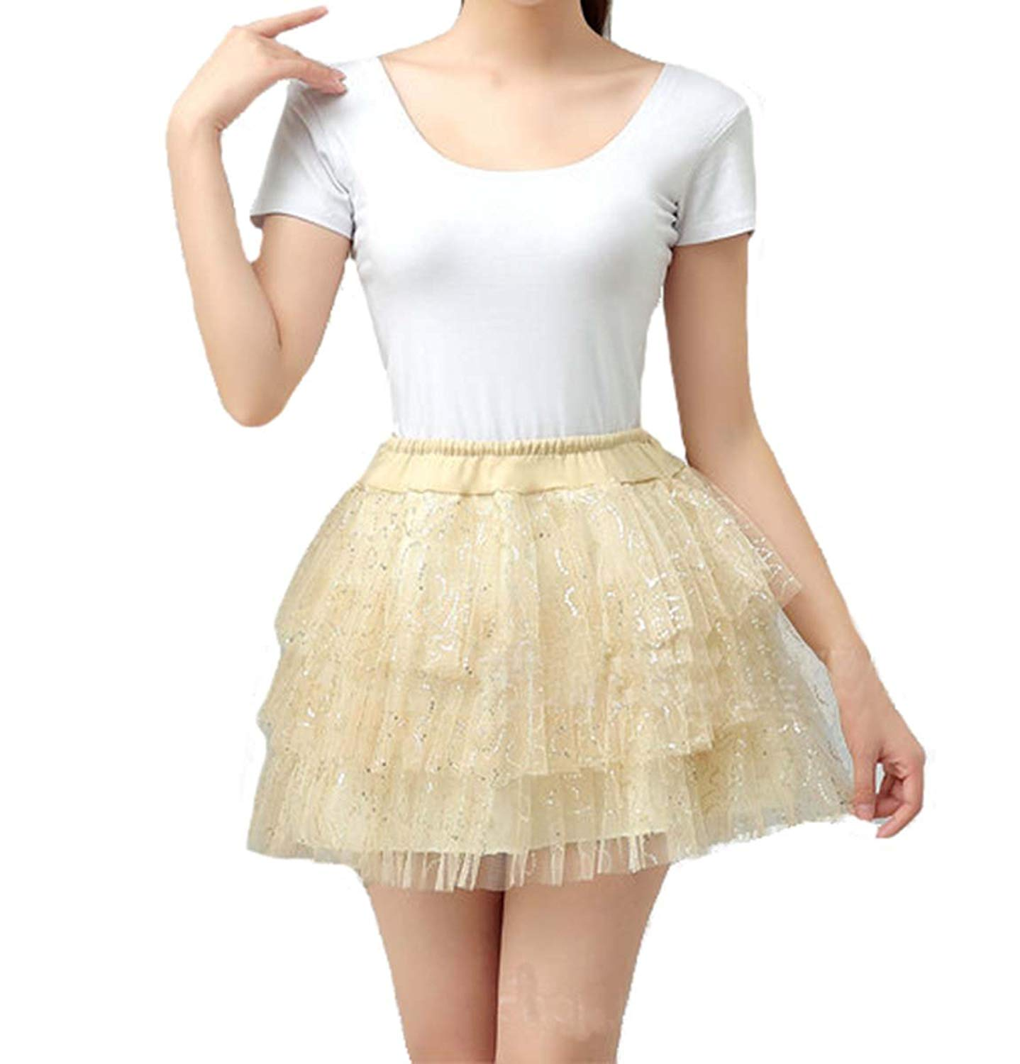 V.C.Formark Tutu Skirt Underskirt Puffy Full Lace Tulle Skirt For Girls Slip