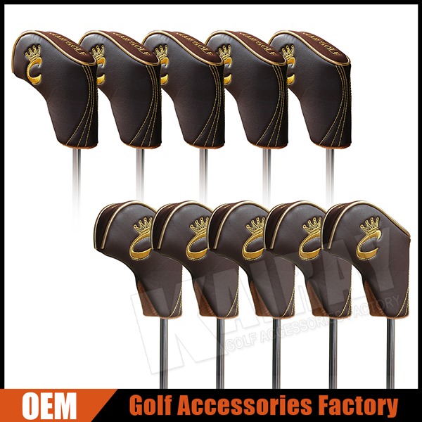 Custom Luxury Leather Golf Iron Head Cover Set