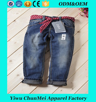 2017 spring children's clothes girls jeans solid slim holes denim blue baby girl causal jeans for girls kids long trousers
