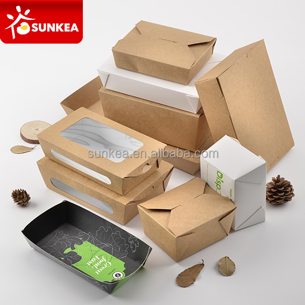 Disposable custom printed kraft paper fast food packaging box