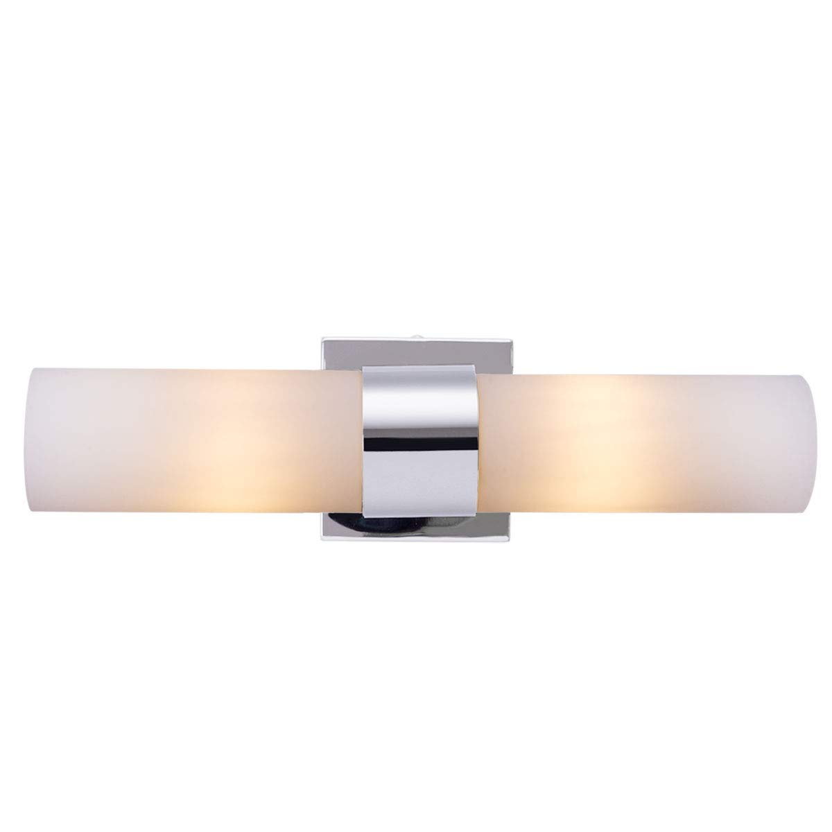 2-Light Vanity Light, Bathroom Wall Sconce Fixture, Polished Chrome Finished and Glass Shade, Simple and Modern Soft Lighting Fixture for Bedroom, Bathroom and Living Room (Bulbs Included)