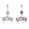 Sexy Letters Belly Button Ring 316L Surgical Steel Belly Navel Rings CZ Inlaid Body Piercing Jewelry