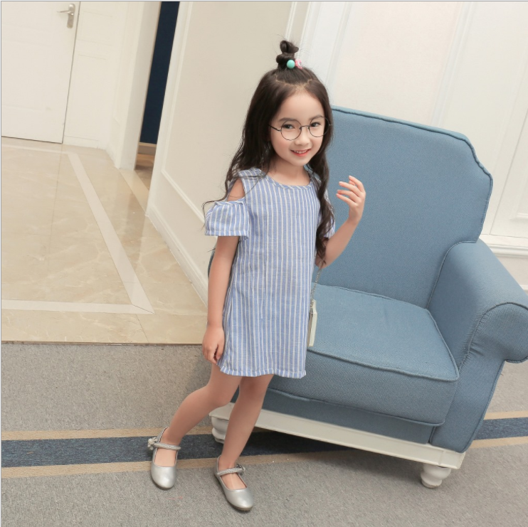 SEV.WEN 2018 children clothes girls the new fashion striped girl cotton dresses