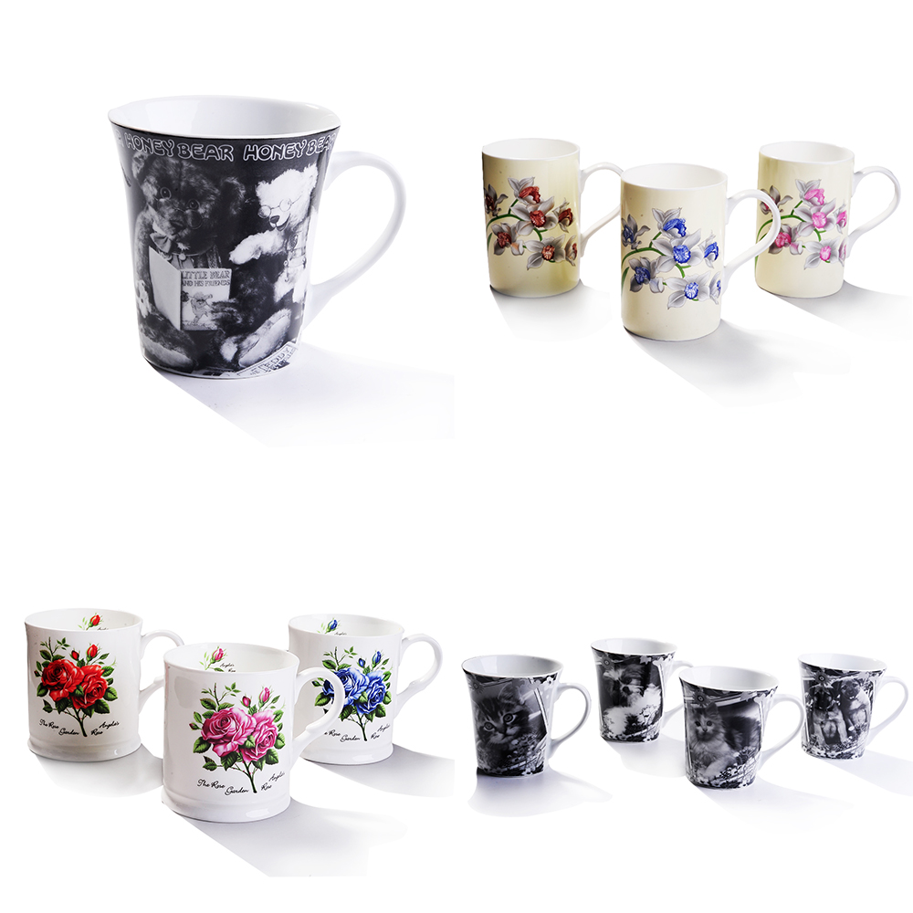 New bone china Tea Cup and Saucer Coffee Cup Set with Saucer, Spoon, Sugar, Creamer 15pcs