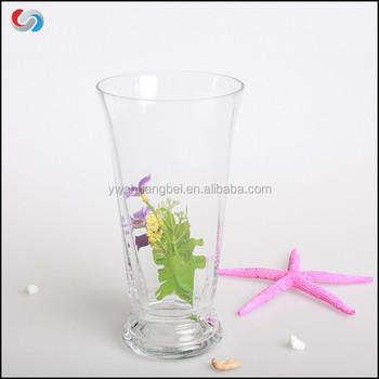 Wholesale Cheap Decorative Flared Hurricane Clear Glass Vase