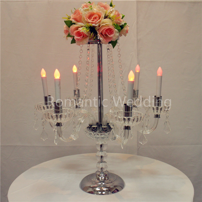 Tall crystal candelabra centerpieces with flower bowl for wedding table centerpiece