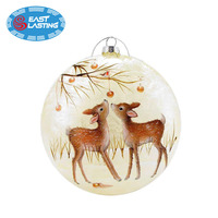 Christmas decoration supplies type hand painted hanging glass ball ornament custom