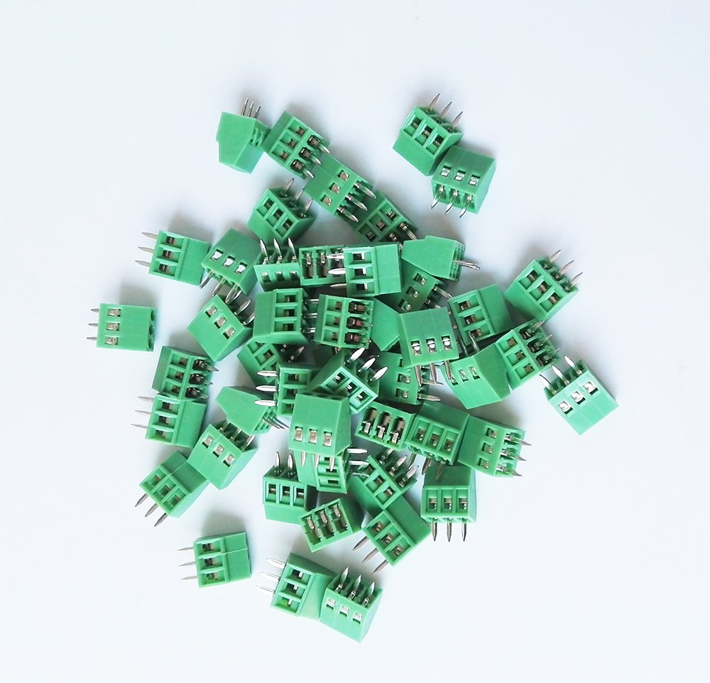E-Simpo PCB Screw Terminal Block, 2p 3p Optional, 2.54mm(150v6a) 3.81mm(300v10a) (2.54mm Pitch, 3P) Read the Drawing Before You Order. Strict Size as Drawing.