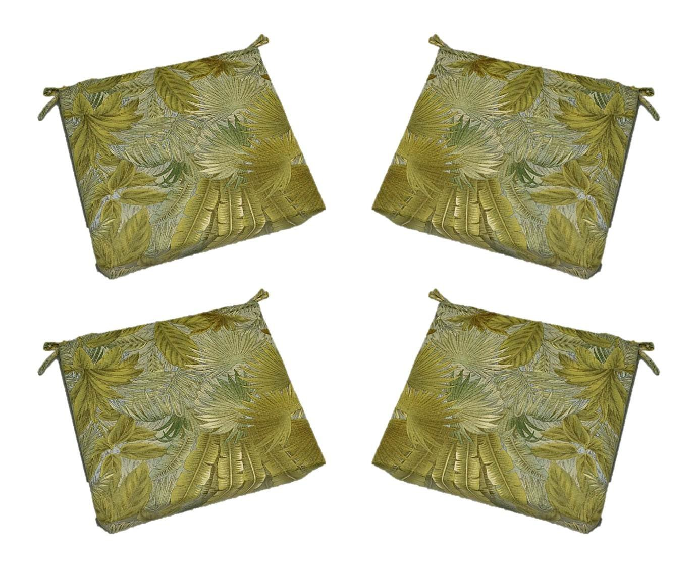 "Set of 4 - Indoor / Outdoor Tommy Bahama Bahamian Breeze Tropical Palm Leaf Floral - Surf Blue / Green, Tan 17"" X 17"" Square Universal 2"" Thick Foam Seat Cushions with Ties for Dining Patio Chairs"