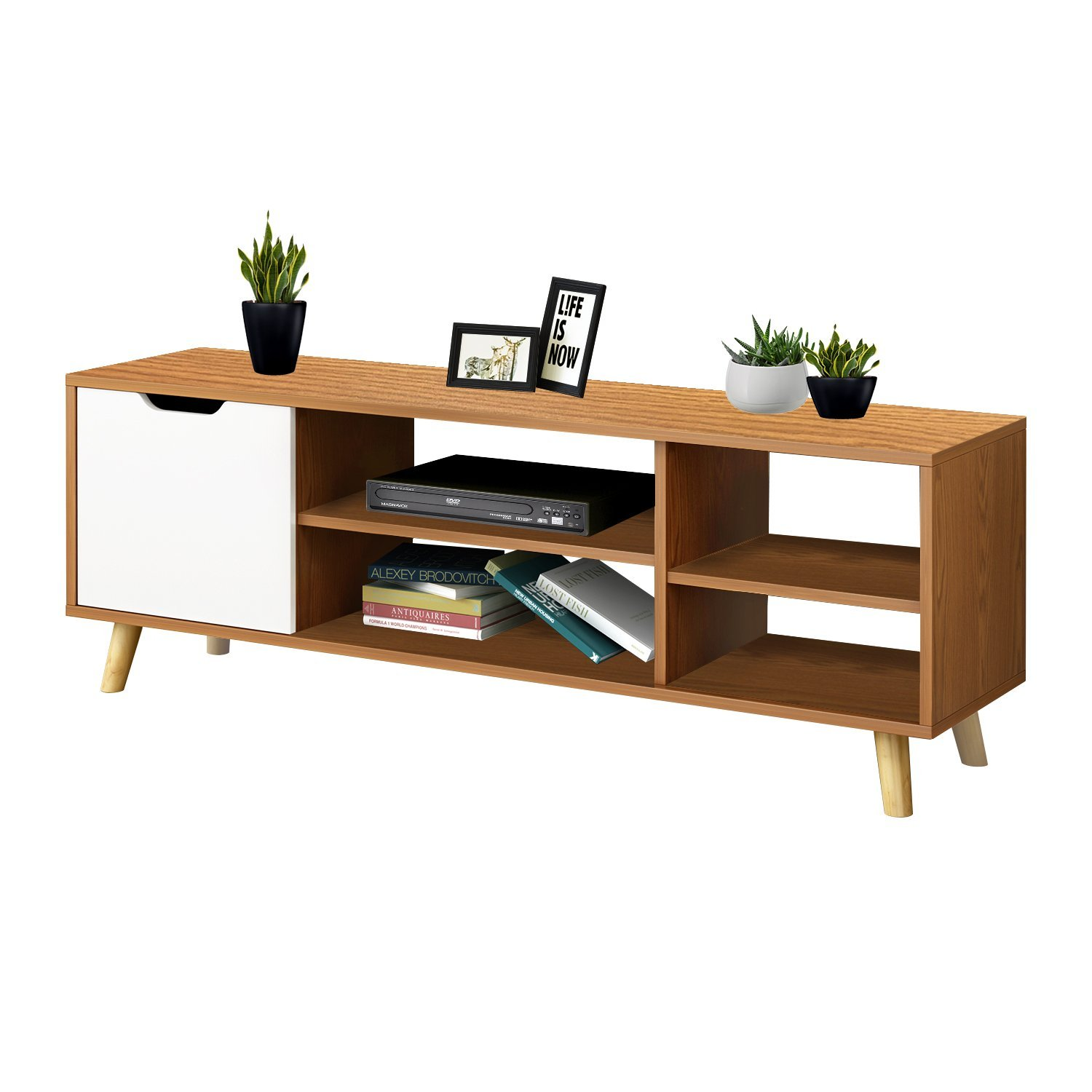 Jerry & Maggie - TV Monitor Stand Computer Stand Shelf Storage Multi Function Organize House Decor Furniture Living room Desk - Natural Wood Tone