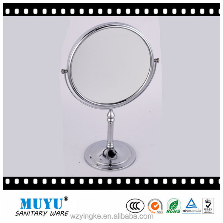double sided standing up two way table metal cosmetic mirror
