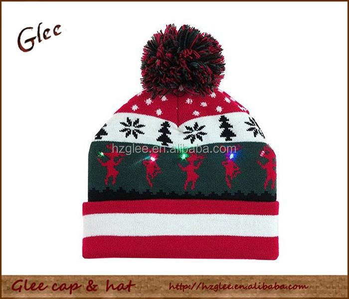 Acrylic Winter Jacquard Led Beanie Led Knitted Hat Led Winter Beanie ... ed8e483a9ae