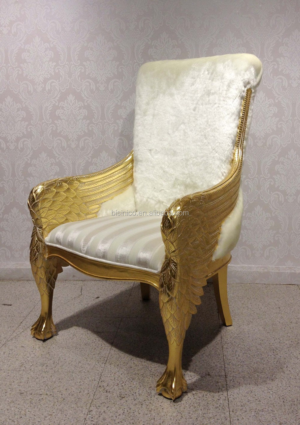 American Style Furniture Sofa Chair Antique Luxury Real Leather Throne Sofa Classic Hand Carved