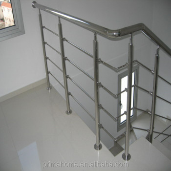 Simple Design Indoor Stainless Steel Stair Railings With Solid Bar Railing