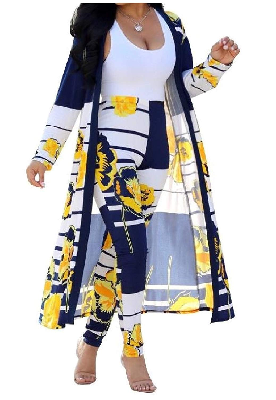 Sheng Xi Womens Cardigan Outdoor Long Sleeve Printed 2 Pieces Pants Sets