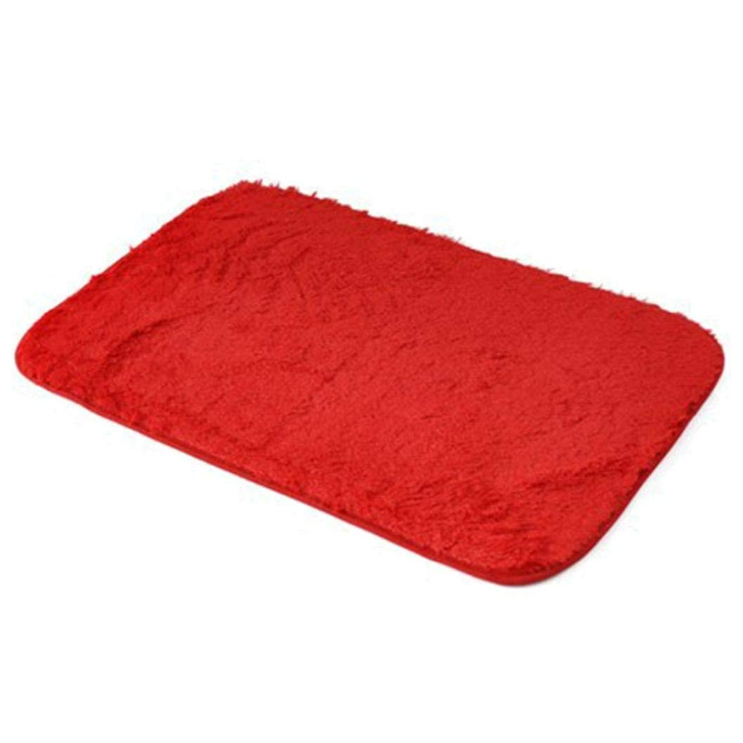 "Memory Foam Shag Bath Mat Makaor Luxurious Absorbent Soft Bathroom Shower Rug Floor Non Slip Mat (Red, Size: 40cmx 60cm/15.8""x23.6"")"