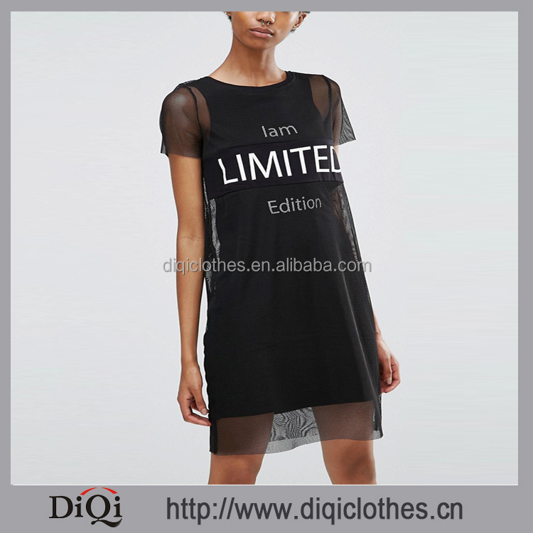 Chic Factory Wholesale Price Custom Western Style New Slogan Print Mesh T-Shirt Dress