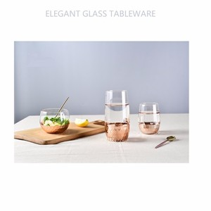 European design embossed colored glass wine candle water tea tumbler