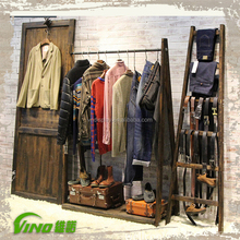 Wooden stand clothing display funiture, clothes wooden display stand for shop ,rustic wooden stand