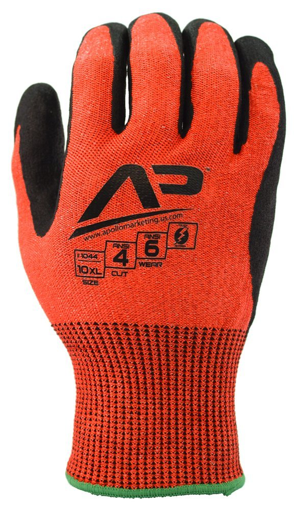 Apollo Performance Work Gloves 1043, Tool Grabber Cut Protect 4, Cut Resistant Glove, 13 Gauge HPPE Knit, Triple Polymer Hybrid Grip, Touch Screen Capabilities with Lightning Touch Technology, ANSI Cut Level 4, 1 Pair, Large, Red