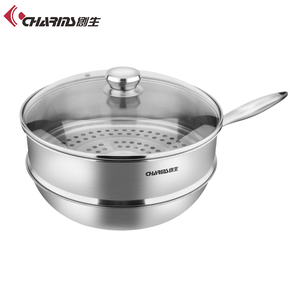 Three-Ply Stainless Steel Single Handle Chinese Nonstick Wok And Fry Pan With Tray Small Panda Stainless Tefal Frying Pan