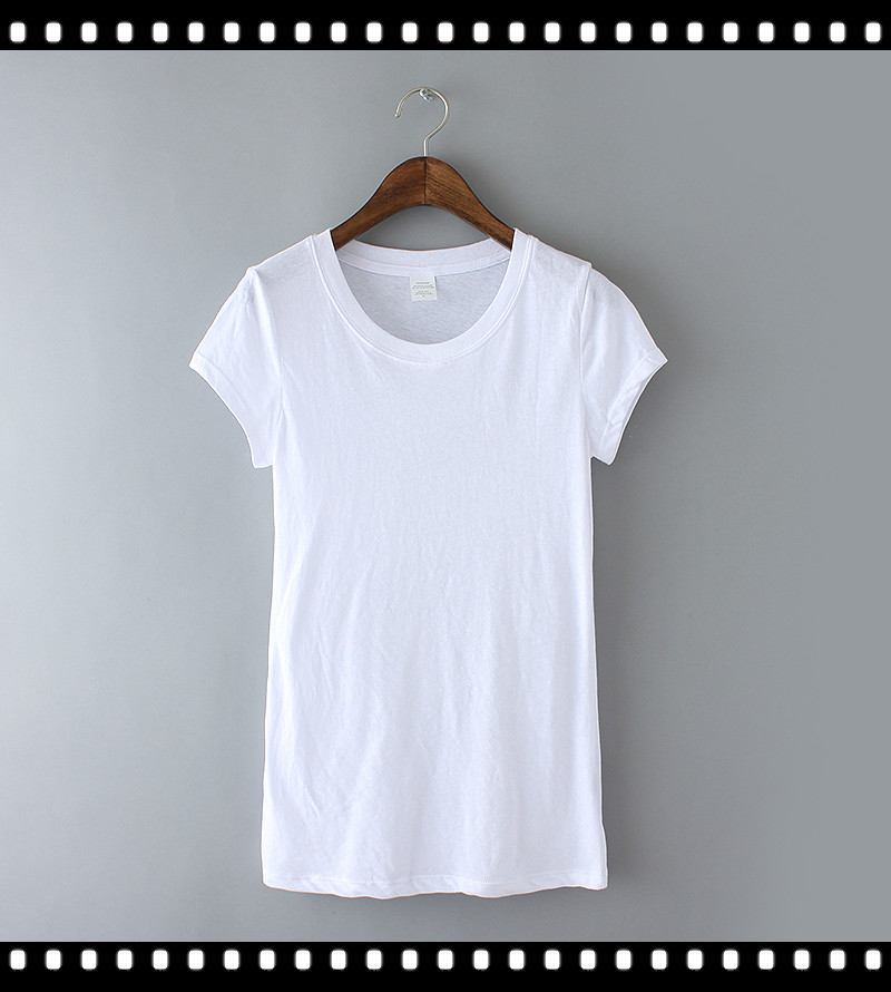 100%Cotton O Collar Ladies White T Shirt Organic Cotton