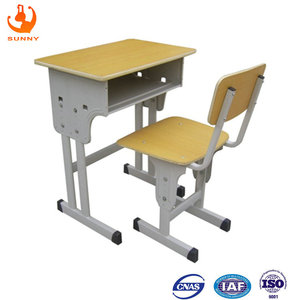 Double leg simple solid plywood school desk and chair metal school furniture old wooden school desks for sale