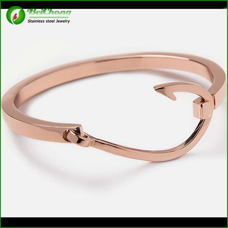 Beichong Brand Wholes3 0164 Fashion Women Rose Gold Stainless Steel Bangles Jewelry 18k