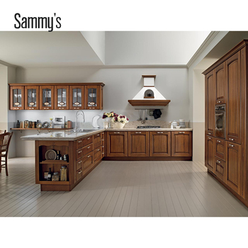 2019 New Modern American Design Cherry Solid Wood Kitchen Cabinets
