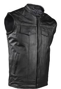 Big Mens Zipper Leather Motorcycle Vest With Gun Pocket (Size 5XL, 64)