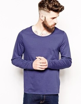 men low crew neck long sleeve blank plain t shirt blank