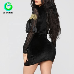 Mini dress long sleeve in black for party dresses women