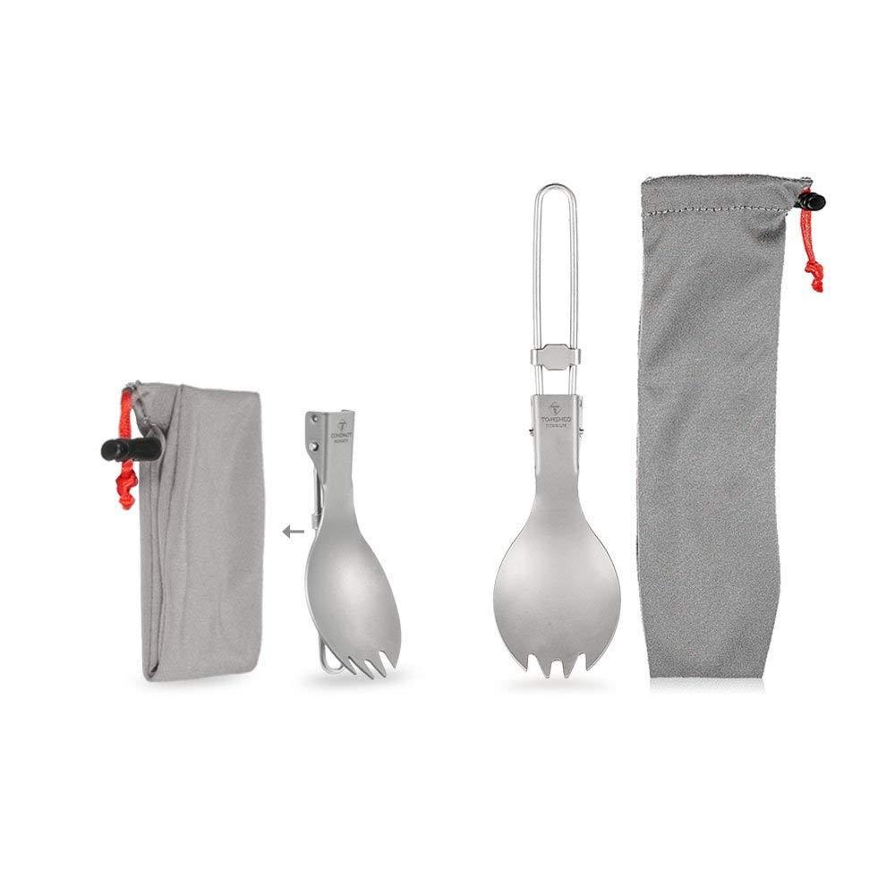 TOMSHOO Titanium Folding Spork Outdoor Camping Hiking Backpacking Dinner Spork Utensil Tableware