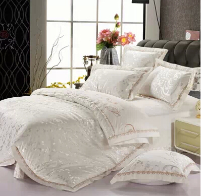 modern white silk satin cotton bedspreads gold embroidered bed in a bag jacquard comforter sets. Black Bedroom Furniture Sets. Home Design Ideas