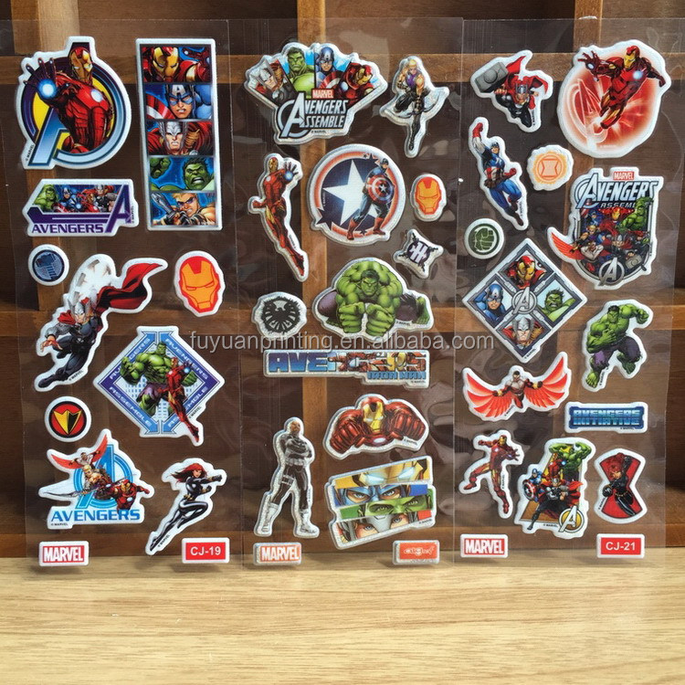 Good quality most popular glitter puffy stickers