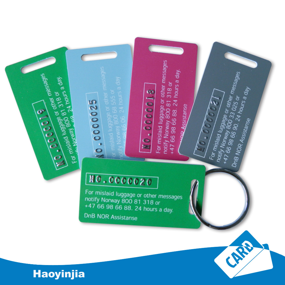 Plastic serials number key tag with numbers