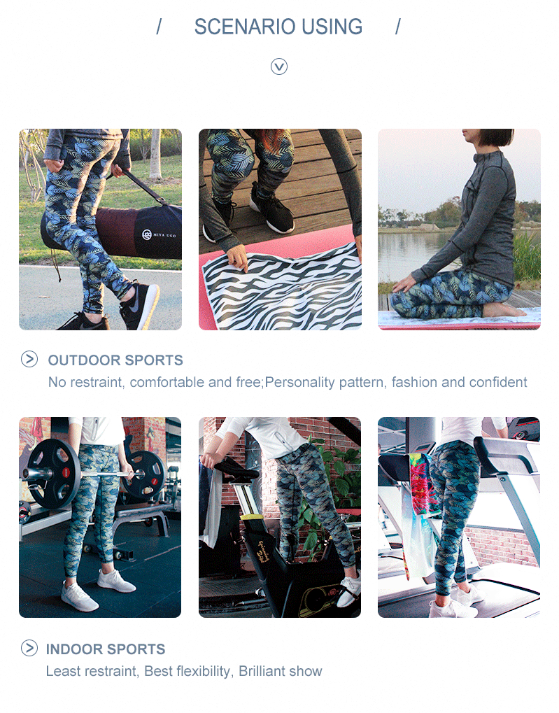 Gym wear dry fit sports printing fabric used for leggings