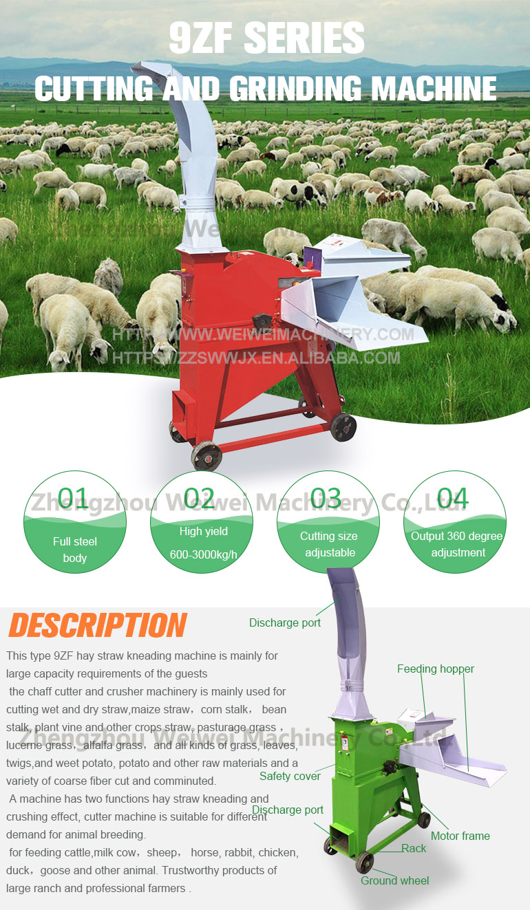 Weiwei cheap price tractor mounted grass chopper the mill straw machine and crusher