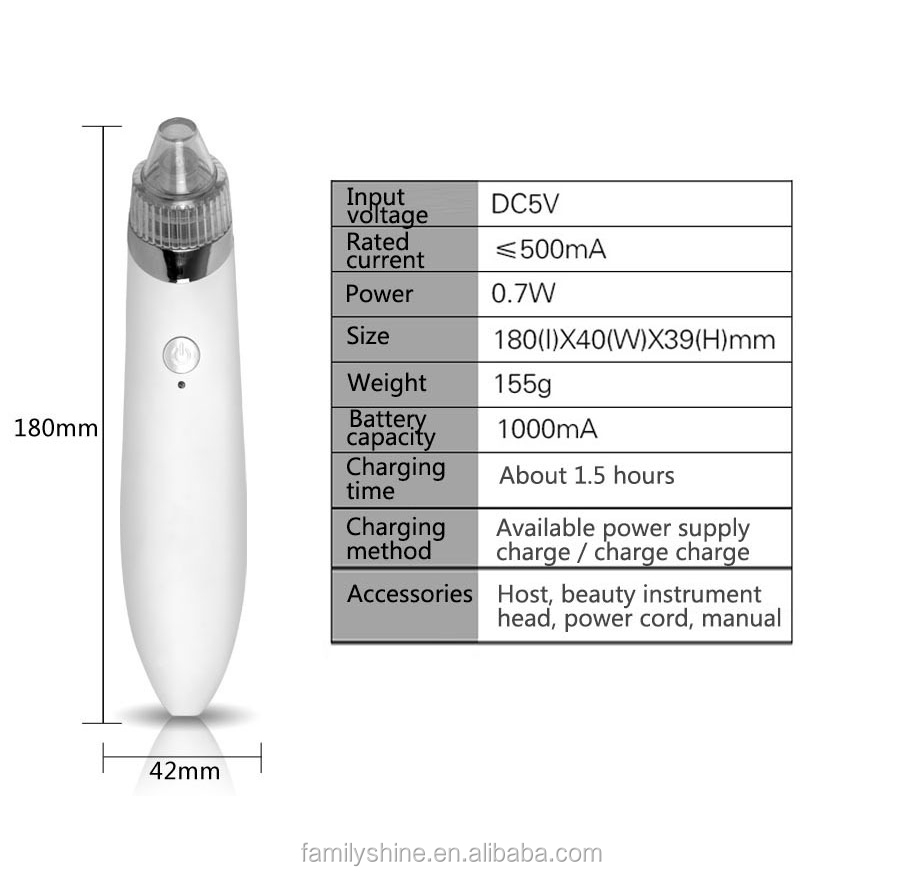 Pore Cleaner Acne Vacuum Blackhead Removal Pen Pore Extractor USB Rechargeable Home Beauty Instrument FS-1247-180U