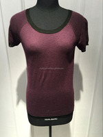 BGAX16099 Slim fashion knitted T shirt , Viscose women short sleeve sweater with contrast rib