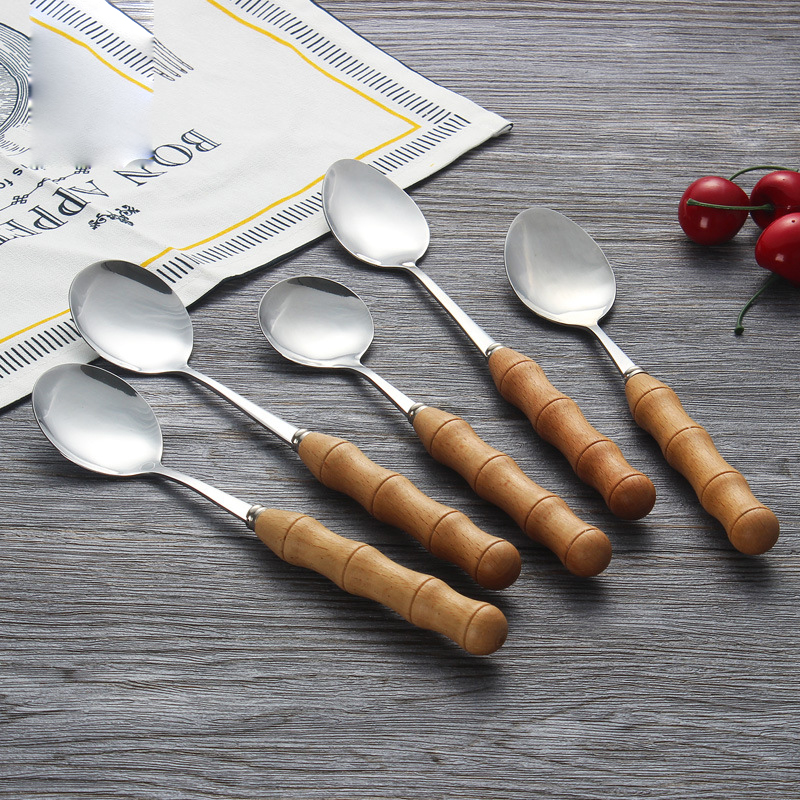 Wooden handle Stainless steel Flatware Sets Cutlery Knife Fork Spoon