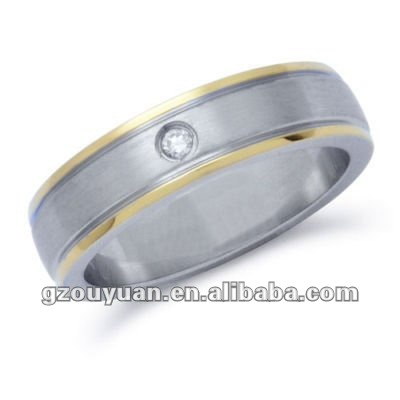 Novelty stainless steel ring with diamond